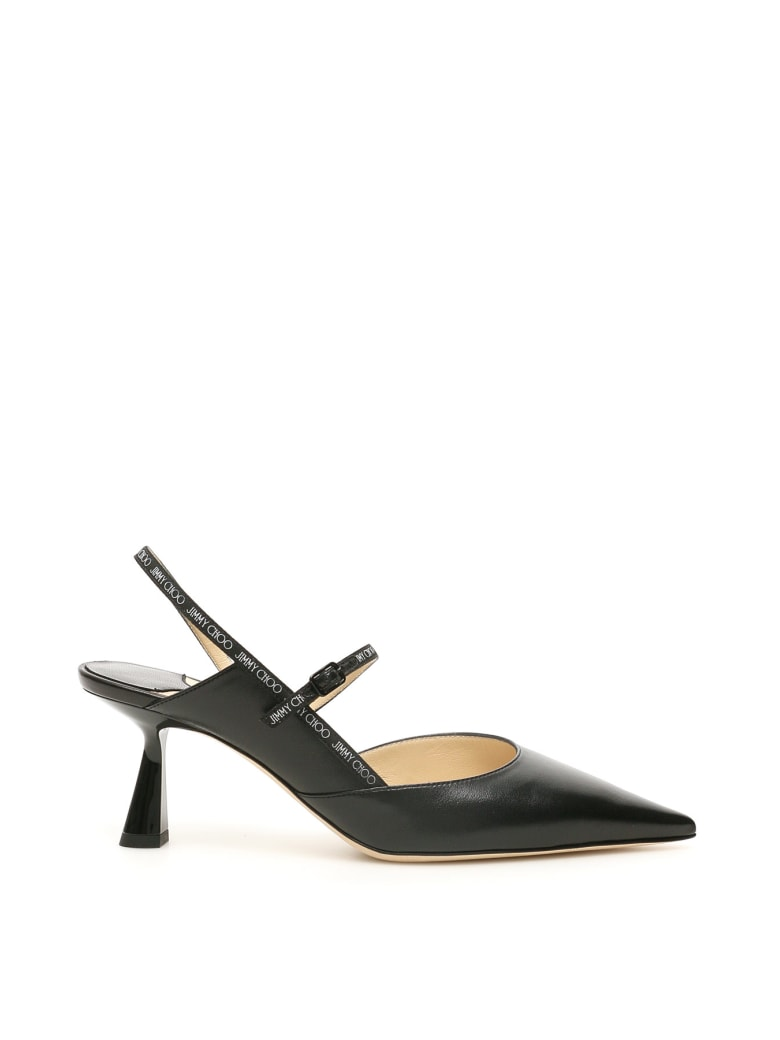 Jimmy Choo Ray 65 Slingback With Logo - Nero