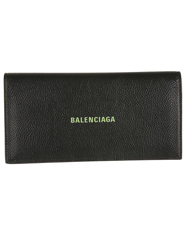Balenciaga Cash Vertical Long Wallet - Black/Fluo Green