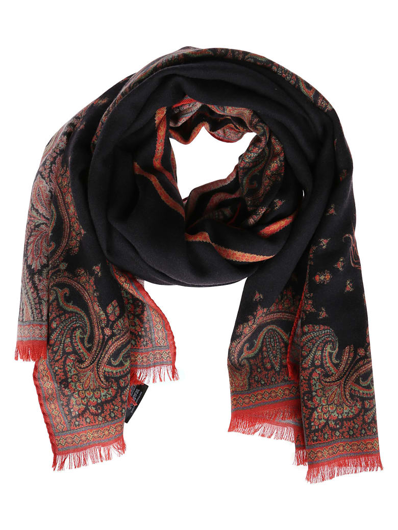 Etro Black Silk-cashmere Blend Scarf - BLACK MULTI