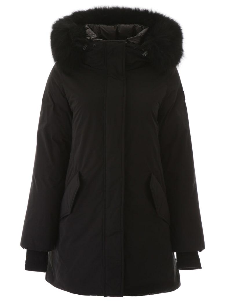 Woolrich Mountain Parka With Fox Fur - BLACK (Black)