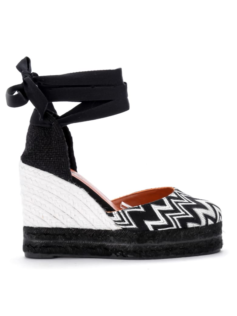 65d598f3d9d Castañer By Missoni Carina Black And White Fabric Wedge Sandal
