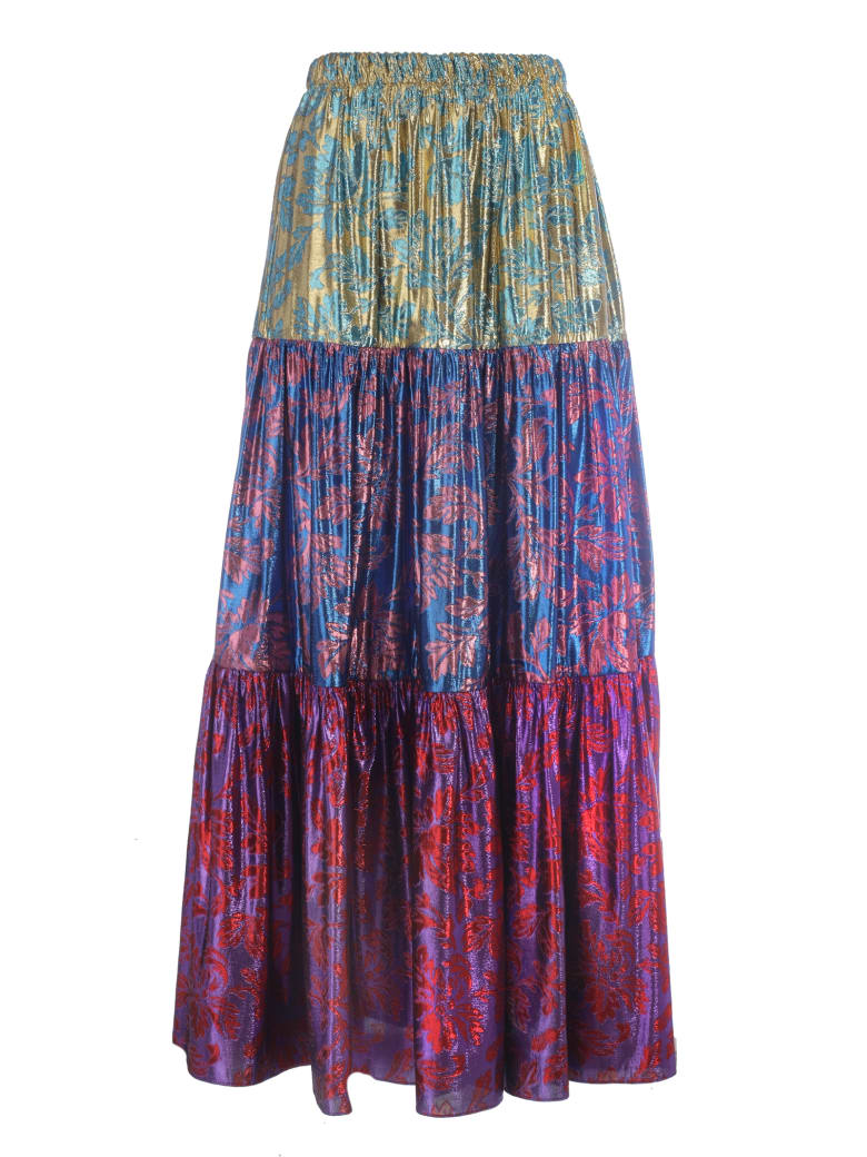 Gucci Brocade Pleated Skirt - Gold Blue