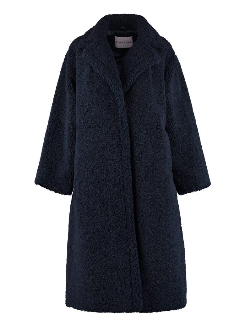 STAND STUDIO Maria Faux Fur Coat - blue
