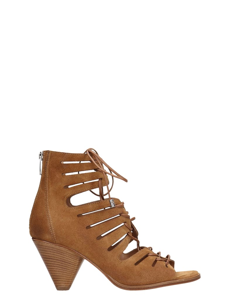 Janet & Janet Open Toe Brown Suede Leather Ankle Boots - leather color