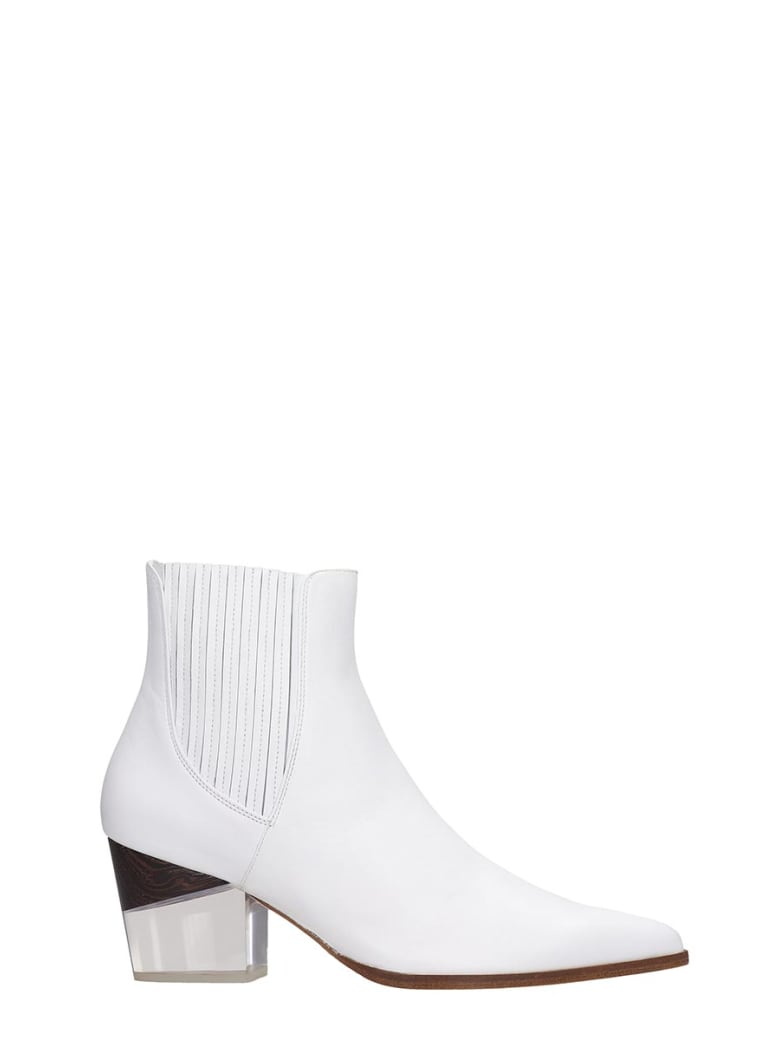 Alexandre Birman Texan Ankle Boots In White Leather - white