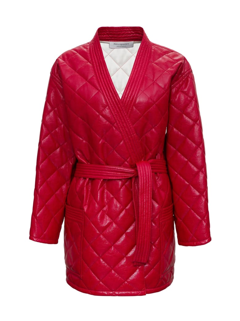 Philosophy di Lorenzo Serafini Quilted Leatheret Jacket - Red