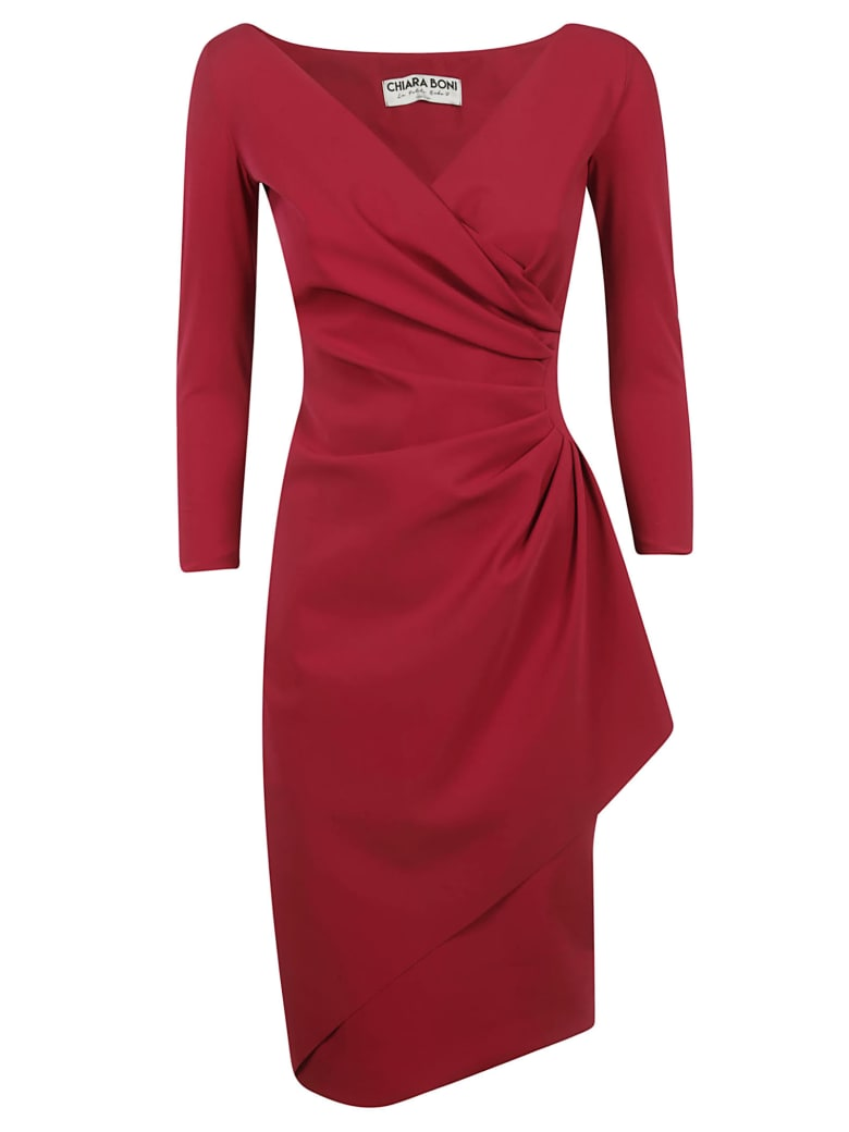 La Petit Robe Di Chiara Boni Chiara Boni Draped Long-sleeved Dress - Maroon
