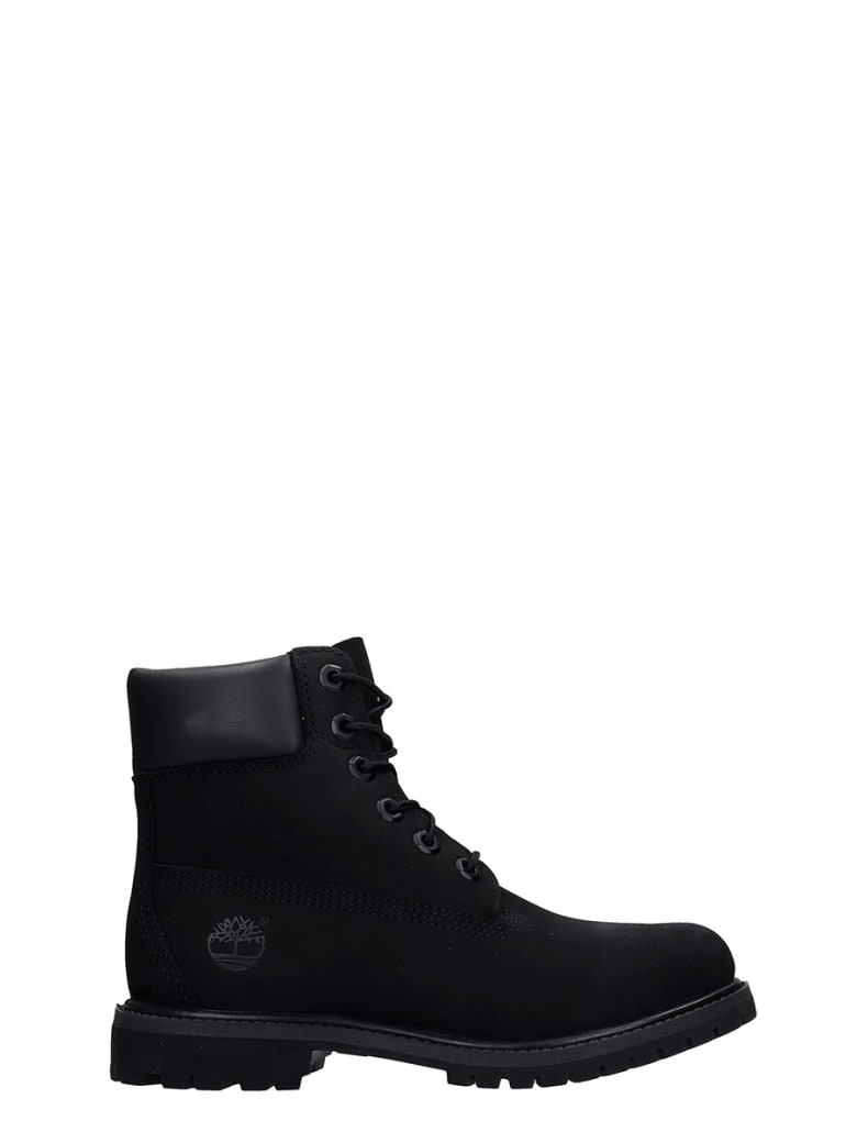 Timberland 6in Prem Combat Boots In Black Nubuck - black