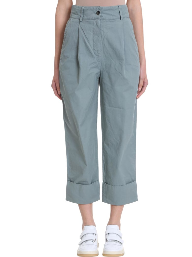 Acne Studios Phaedra Cotton And Linen Trousers - green