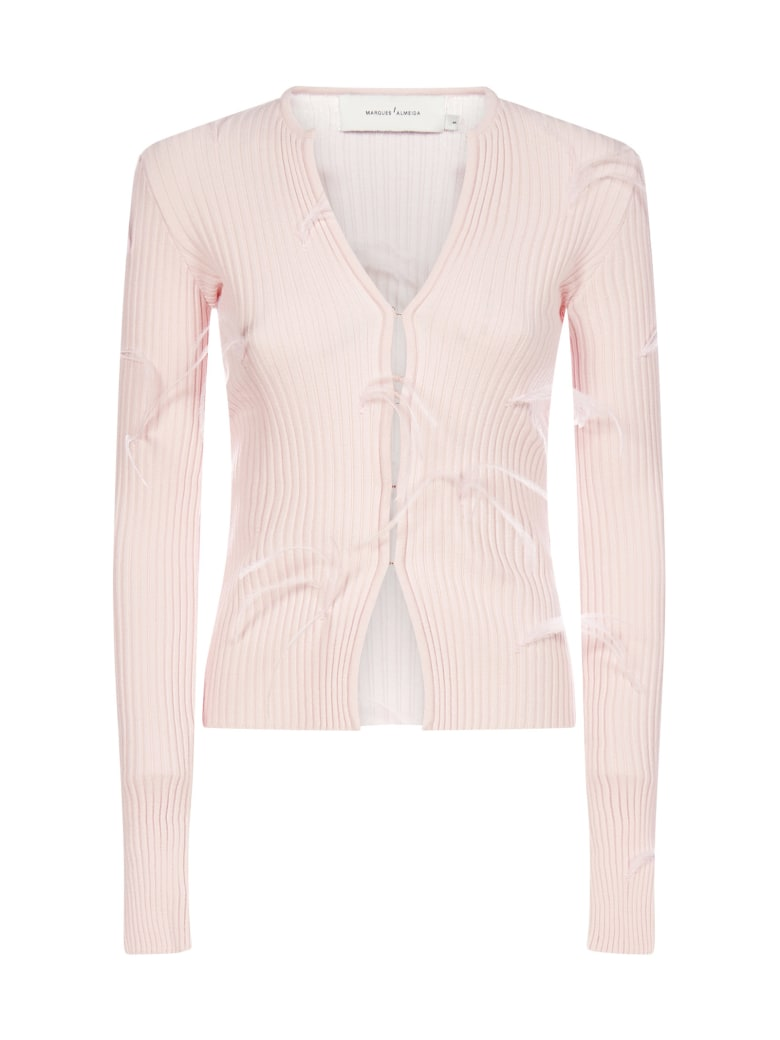 Marques'Almeida Feather-embellished Viscose-knit Cardigan - Pink