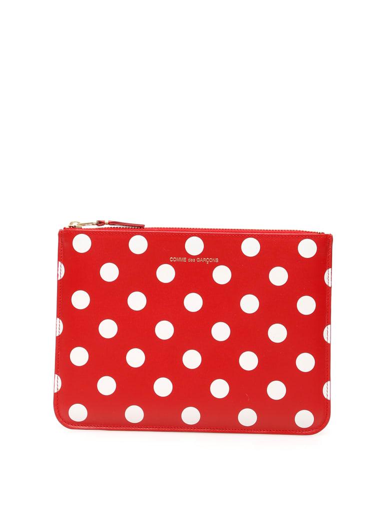 Comme des Garçons Wallet Polka Dots Pouch - Rosso