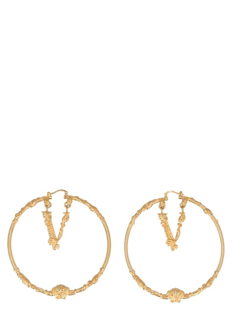 Versace 'virtus' Earrings - Gold