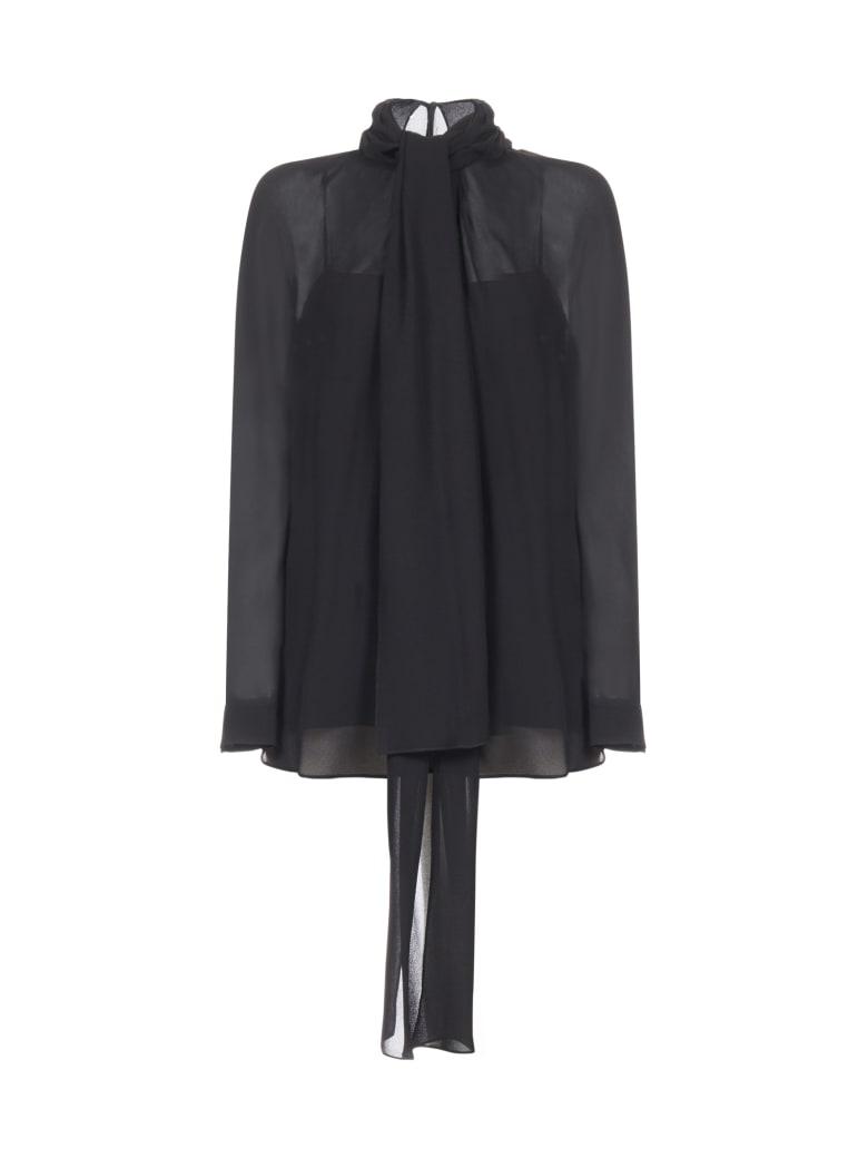 Prada Bluse Ls Crepe Sadle Shirt - Nero