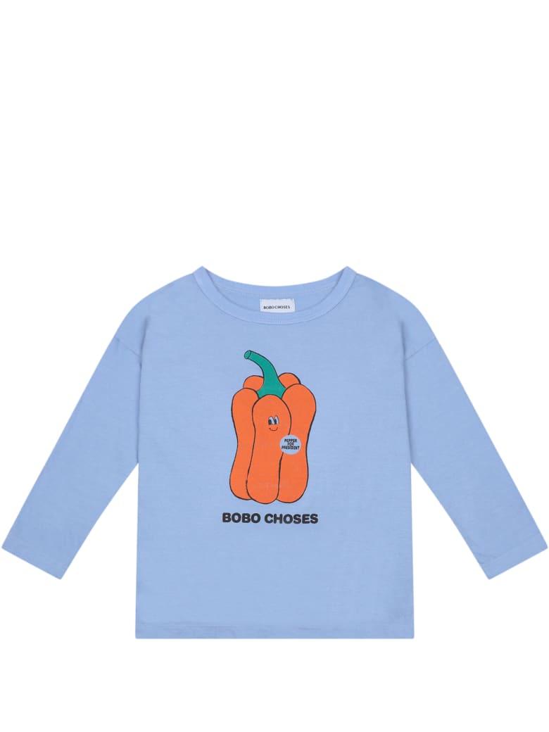 Bobo Choses Light Blue T-shirt For Boy With Pepper - Light Blue