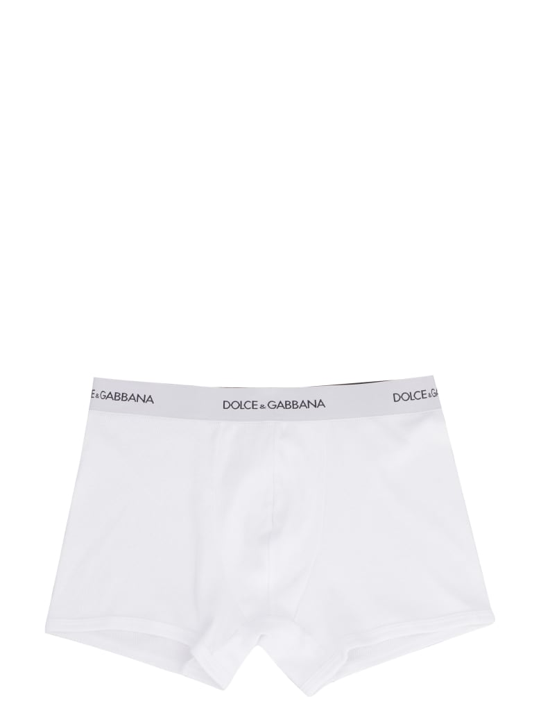 Dolce & Gabbana Cotton Trunks With Elastic Band - White