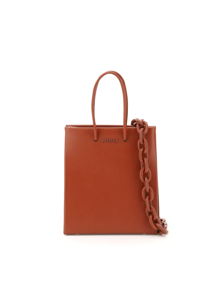 Medea Short Prima Bag With Leather Chain - CHERRY (Brown)