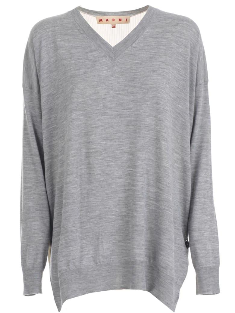 Marni Sweater L/s V Neck Bicolour - Inox