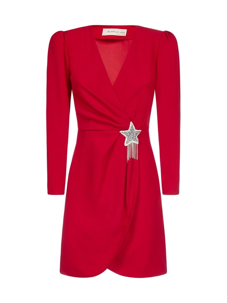 Blanca Vita Amanda Star-detail Wrap Dress - Rosso
