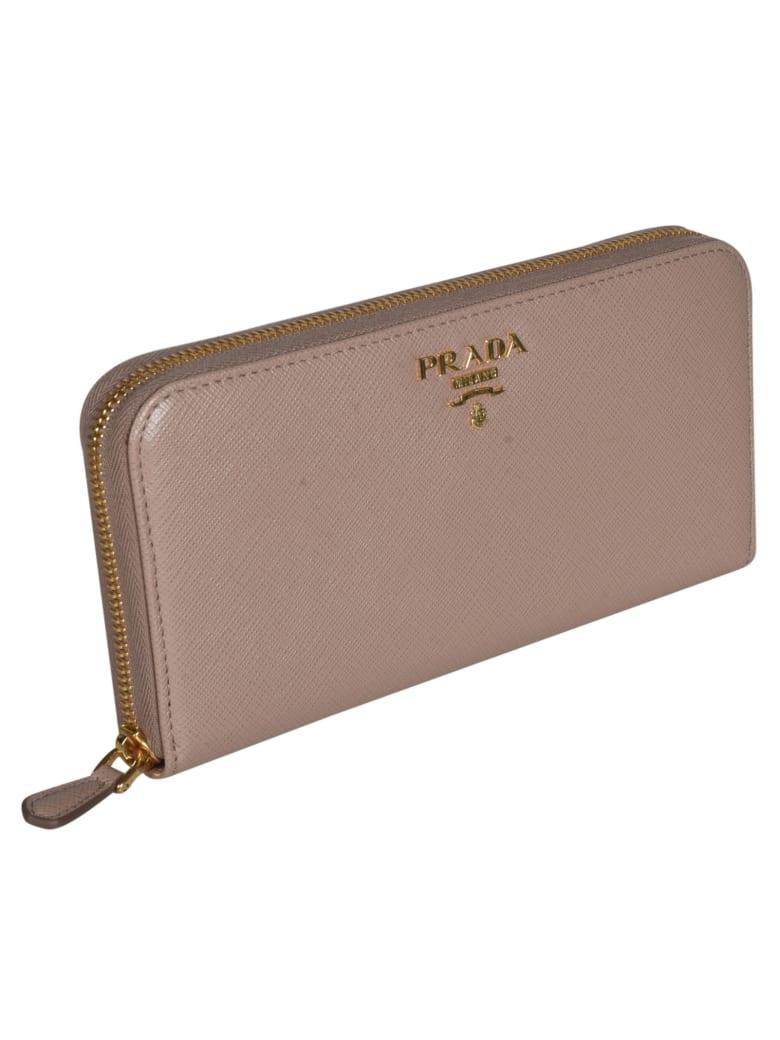 Prada Saffiano Metal Plaque Zip-around Wallet