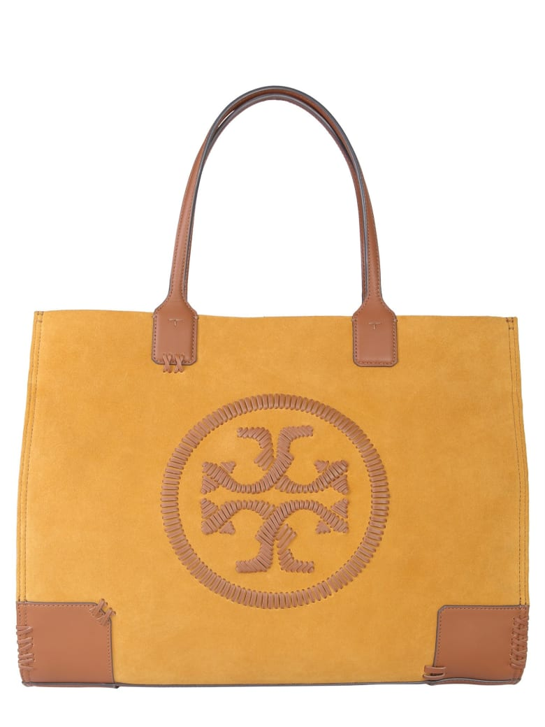 Tory Burch Ella Bagella Leather Bag With Embroidered Logo - BEIGE