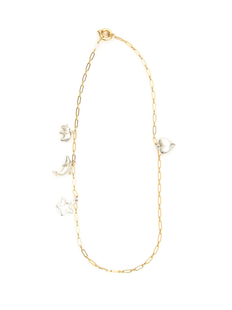 Timeless Pearly Chain Necklace With Charms - SILVER GOLD (Gold)