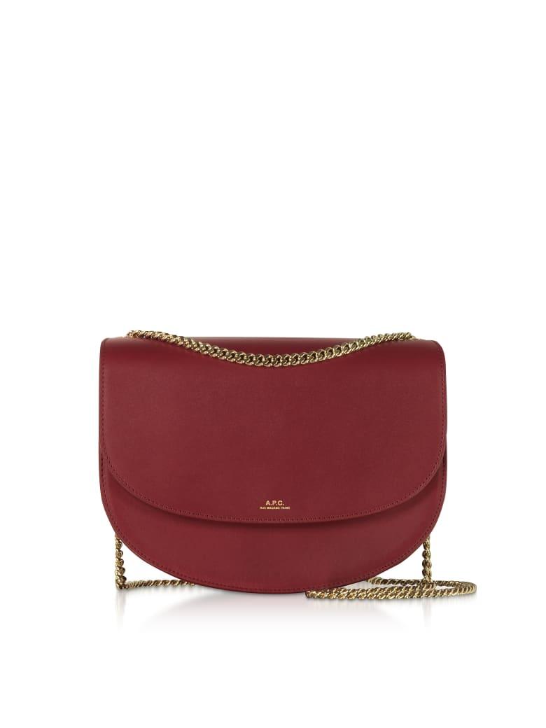 A.P.C. Genuine Leather Zurich Shoulder Bag - Garnet