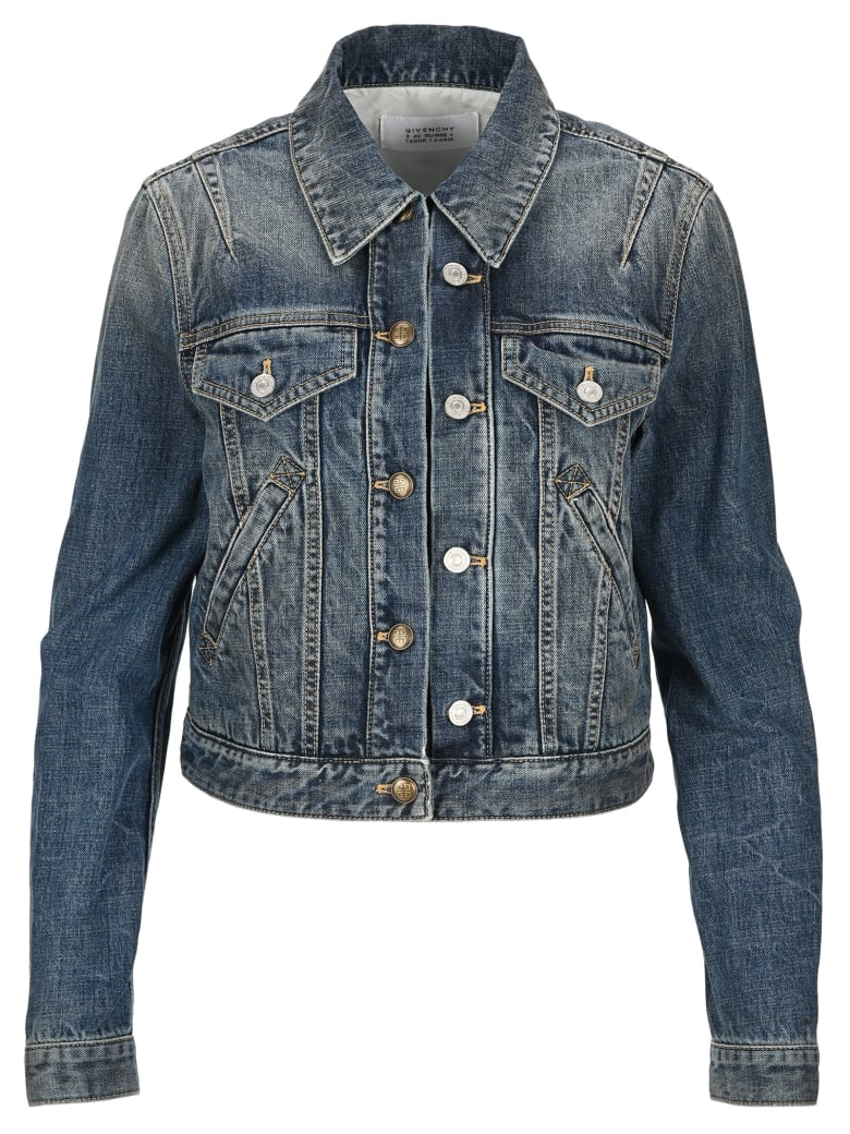 Givenchy Cropped Denim Jacket - DARK BLUE