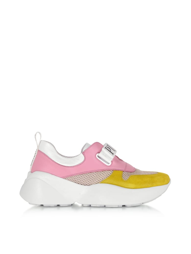 purchase cheap 46e2c 7fd03 Best price on the market at italist | Emilio Pucci Emilio Pucci Pink & Lime  Green Leather And Nylon Sneakers