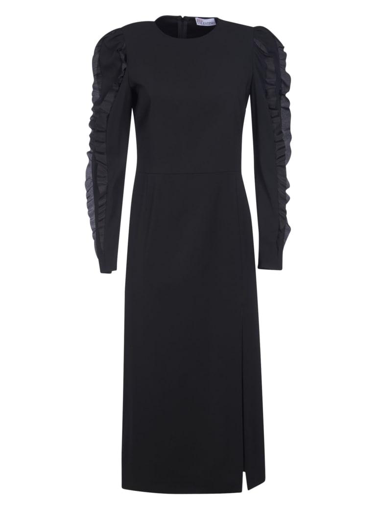 RED Valentino Ruffled Sleeves Long Dress - Black