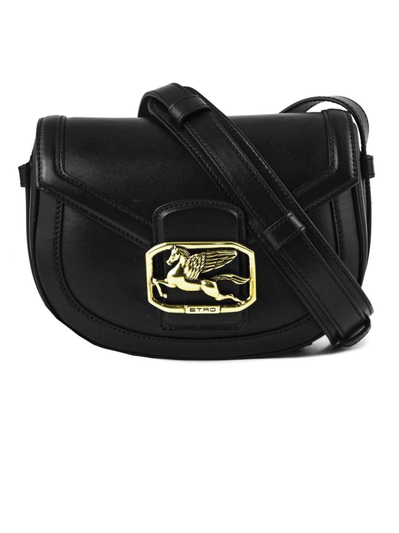 Etro Pegaso Bag In Black Leather - Nero