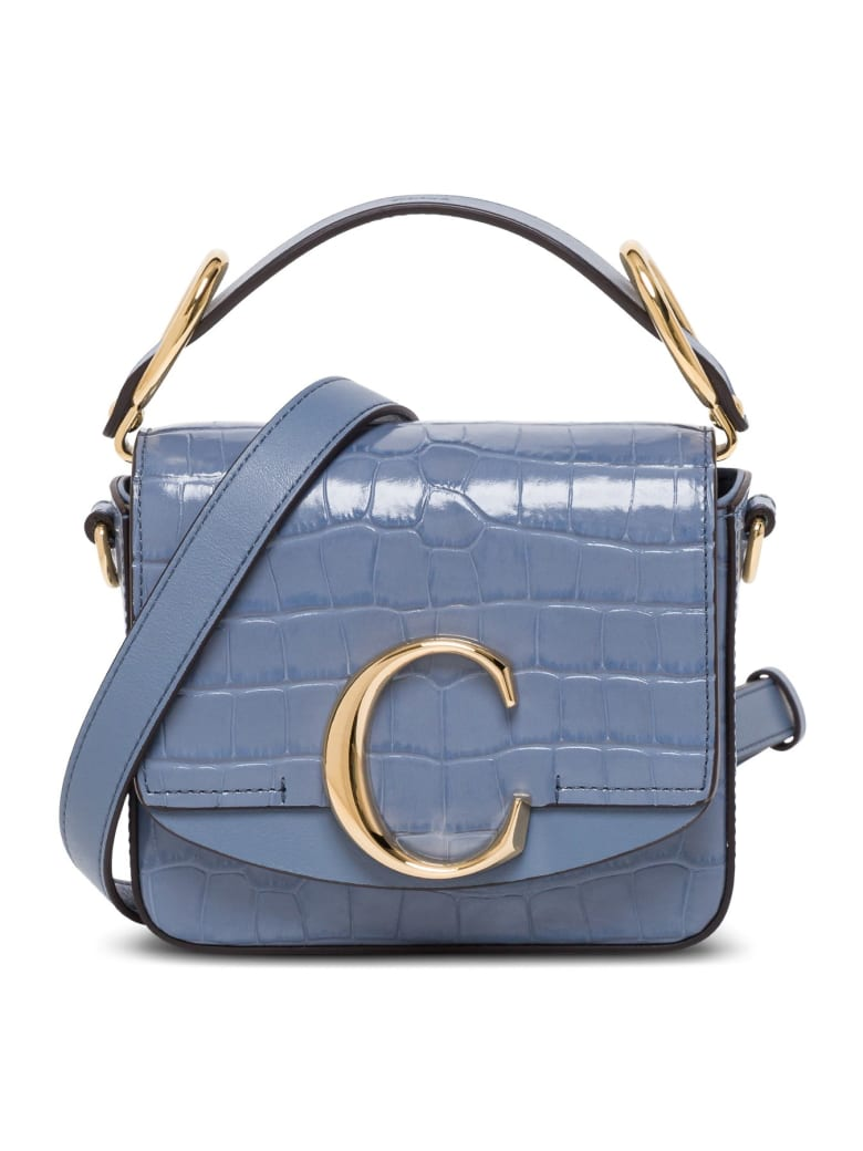 Chloé C Chloe Crossbody Bag In Crocodile Print Leather - Light blue