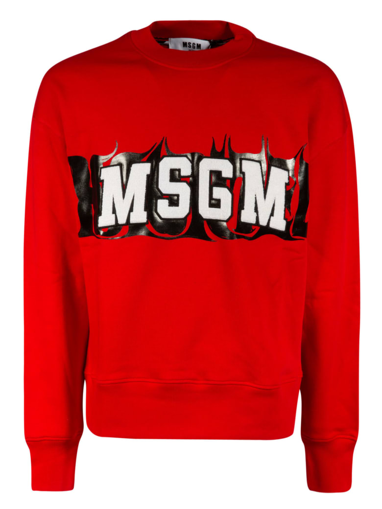 MSGM Logo Patch Sweatshirt - Scarlet/Black/White