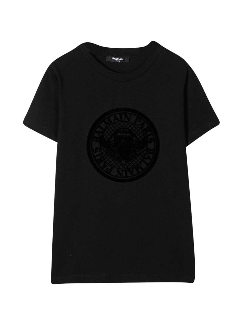 Balmain Black Teen T-shirt With Print - Nero