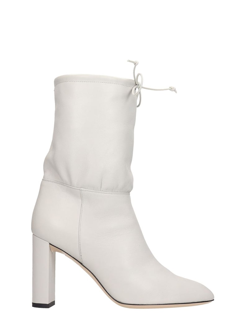 Dei Mille High Heels Ankle Boots In Grey Leather - grey