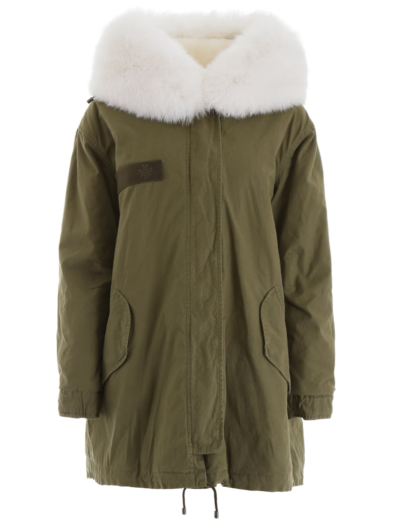 Mr & Mrs Italy Fur And Shearling Parka - ARMY WHITE WHITE (Khaki)