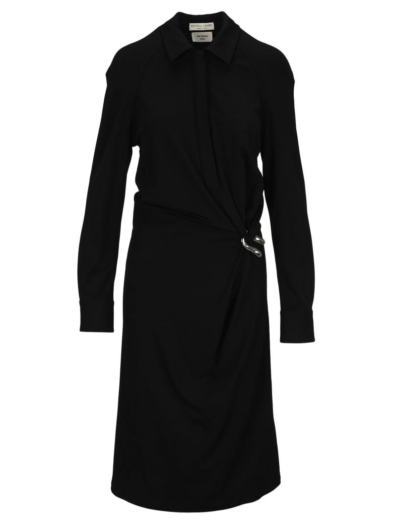 Bottega Veneta Draped Shirtdress - BLACK
