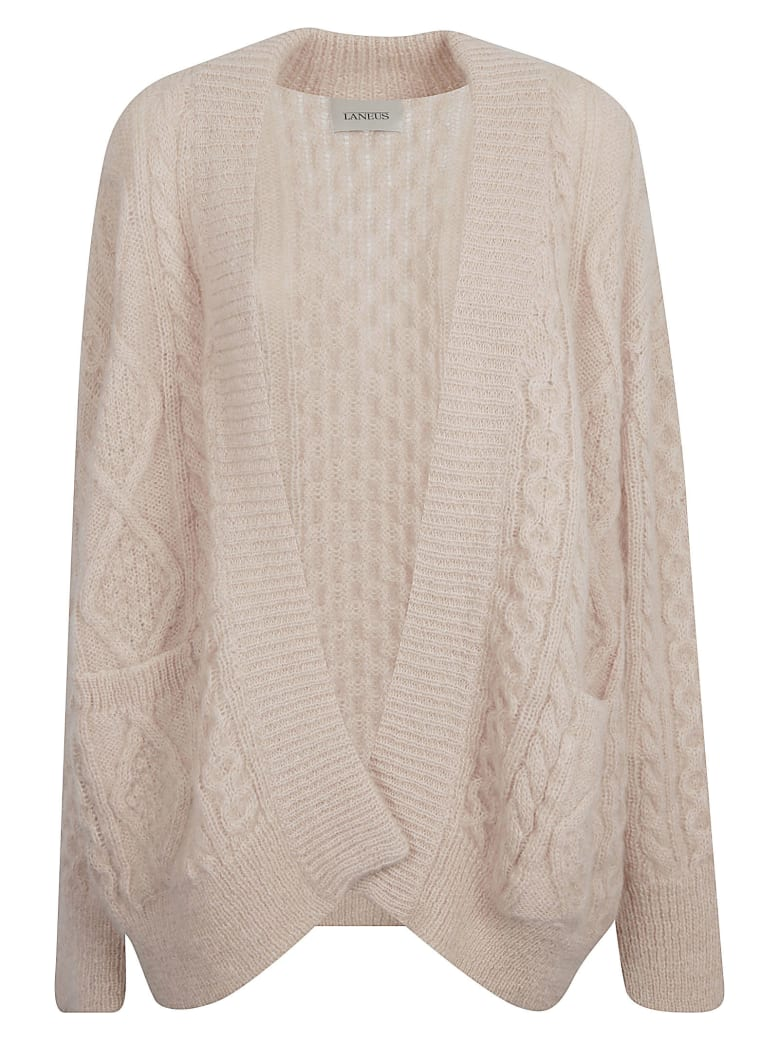 Laneus Knitted Open Cardigan - Nude