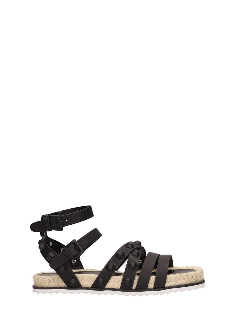 Kendall + Kylie Black Leather Flat Sandals - black