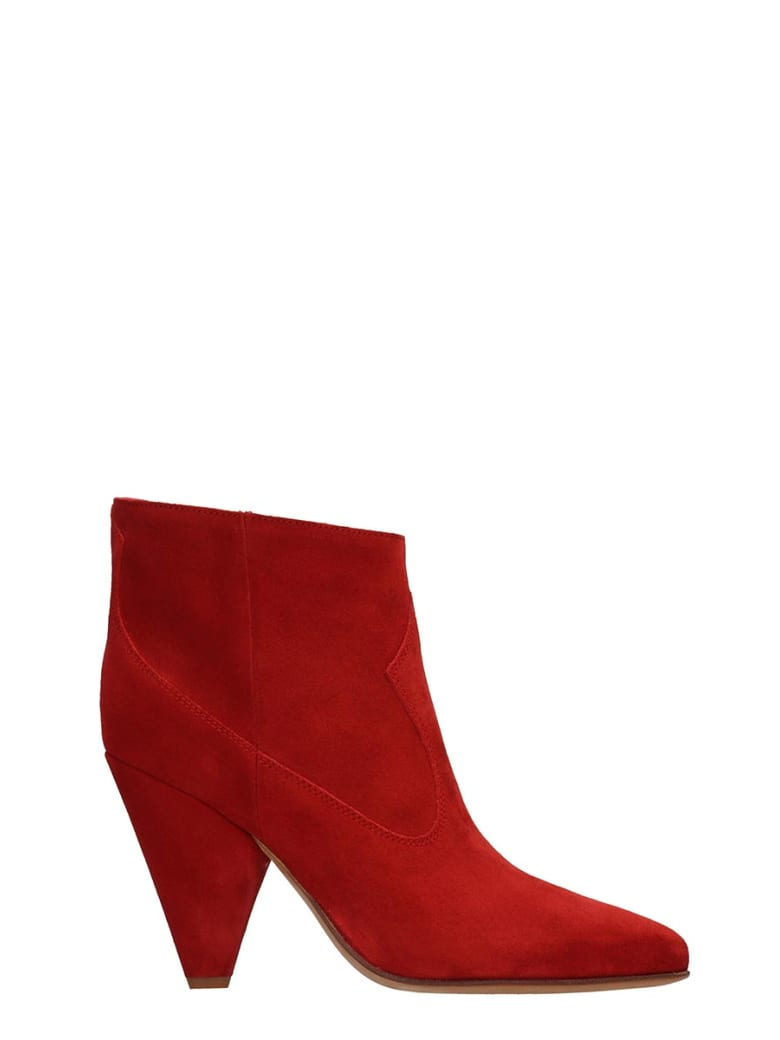 Buttero Red Suede Ankle Boots - red