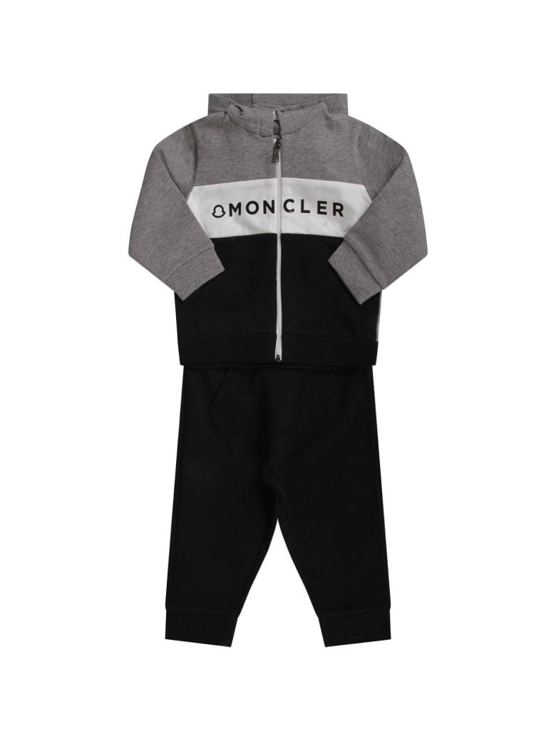 Moncler Black And Grey Babyboy Tracksuit With Black Logo - Grey