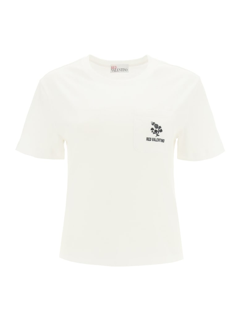 RED Valentino T-shirt With Clover Embroidery - WHITE