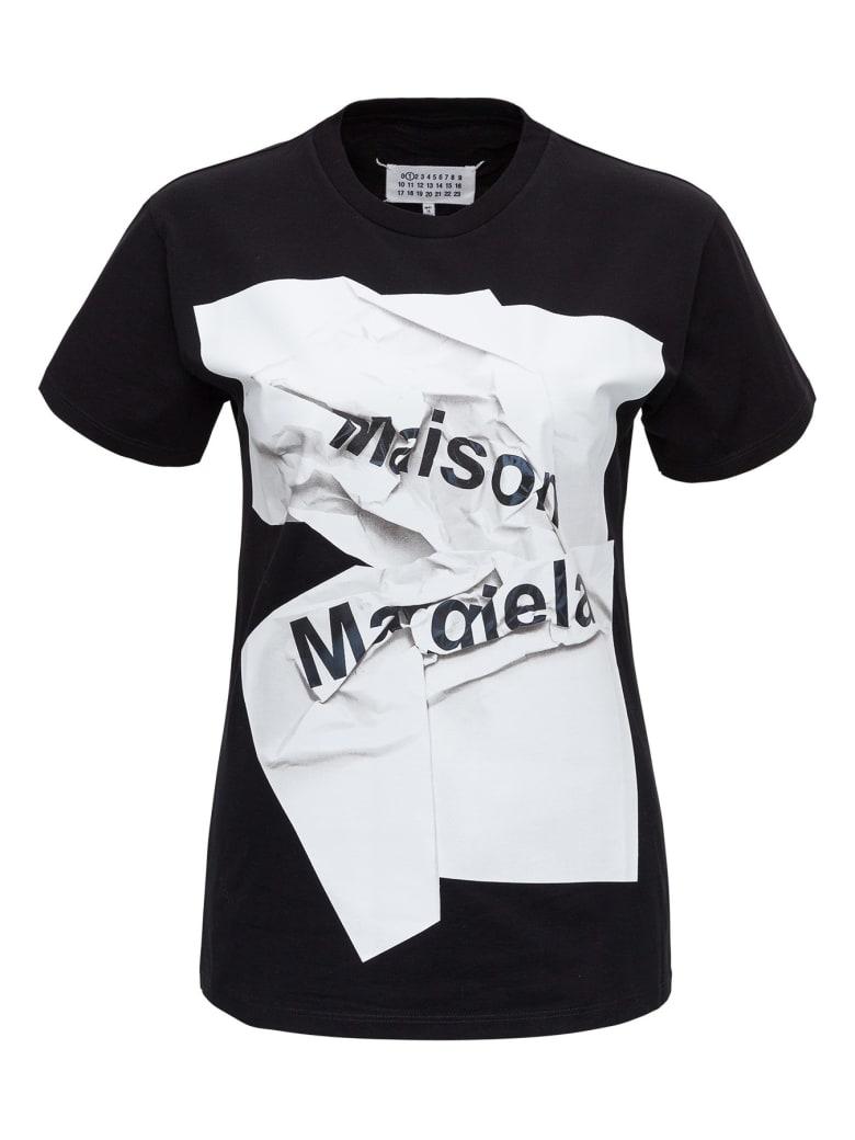 Maison Margiela Jersey T-shirt With Logo - Black