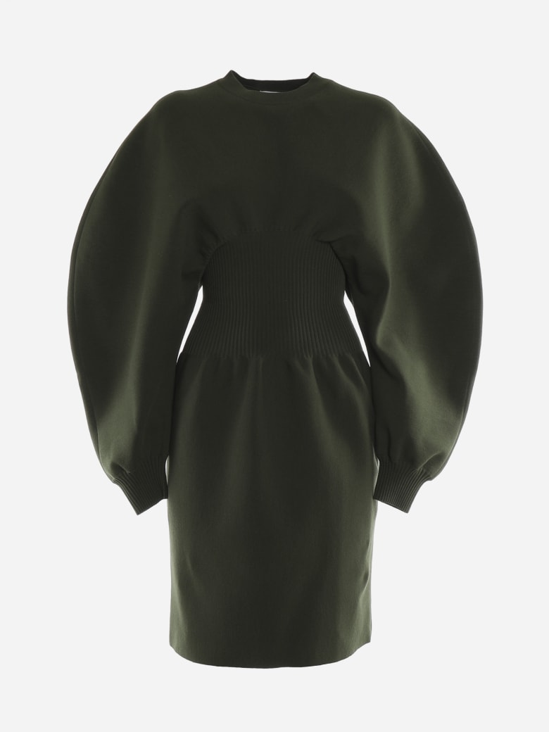 Bottega Veneta Stretch Wool Dress With Voluminous Sleeves - Verde