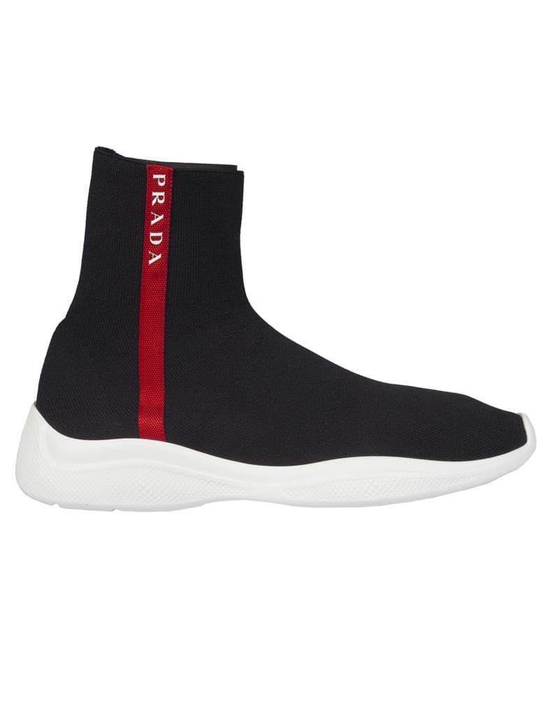 Prada Linea Rossa Sock Hi-top Sneakers - Nero/bianco