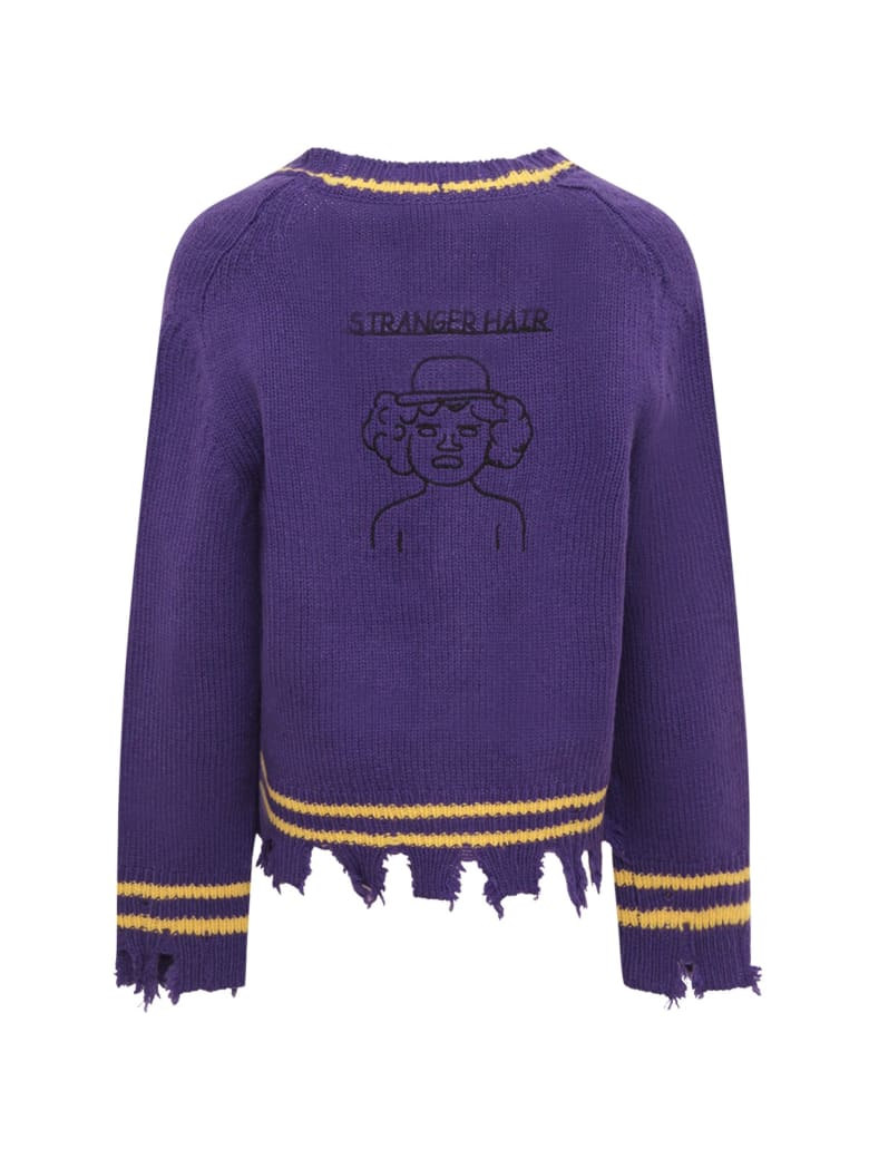 Riccardo Comi Purple Cardigan With Yellow Details - Violet