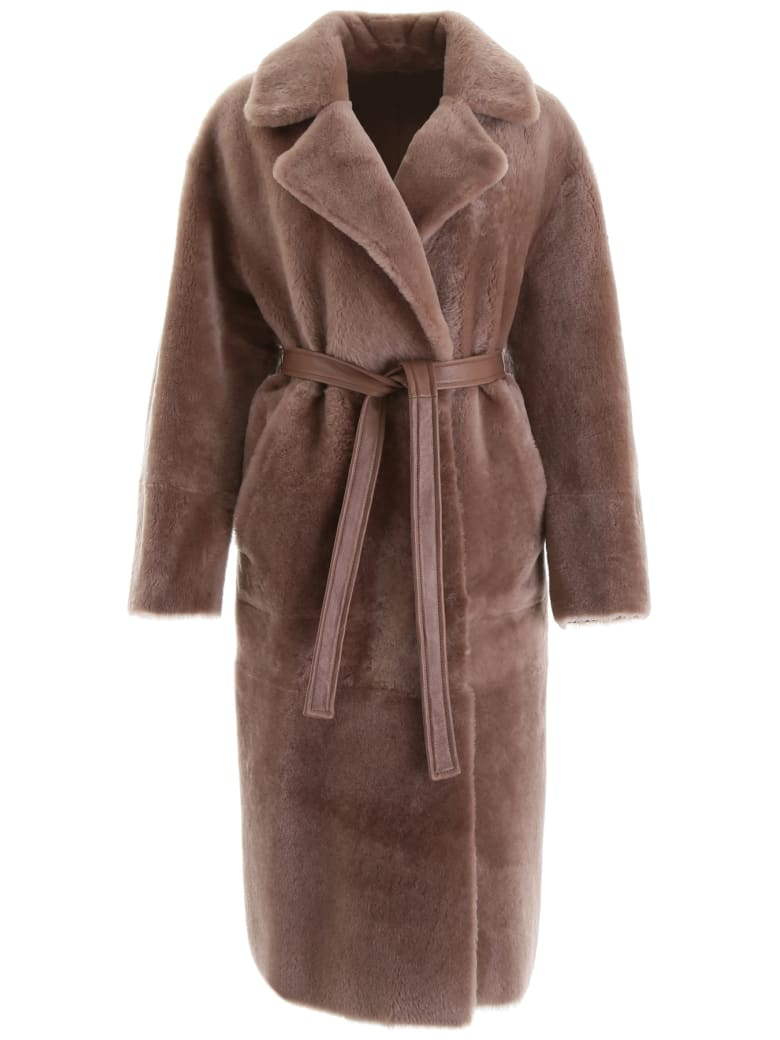 Blancha Reversible Shearling Coat - STONE (Beige)