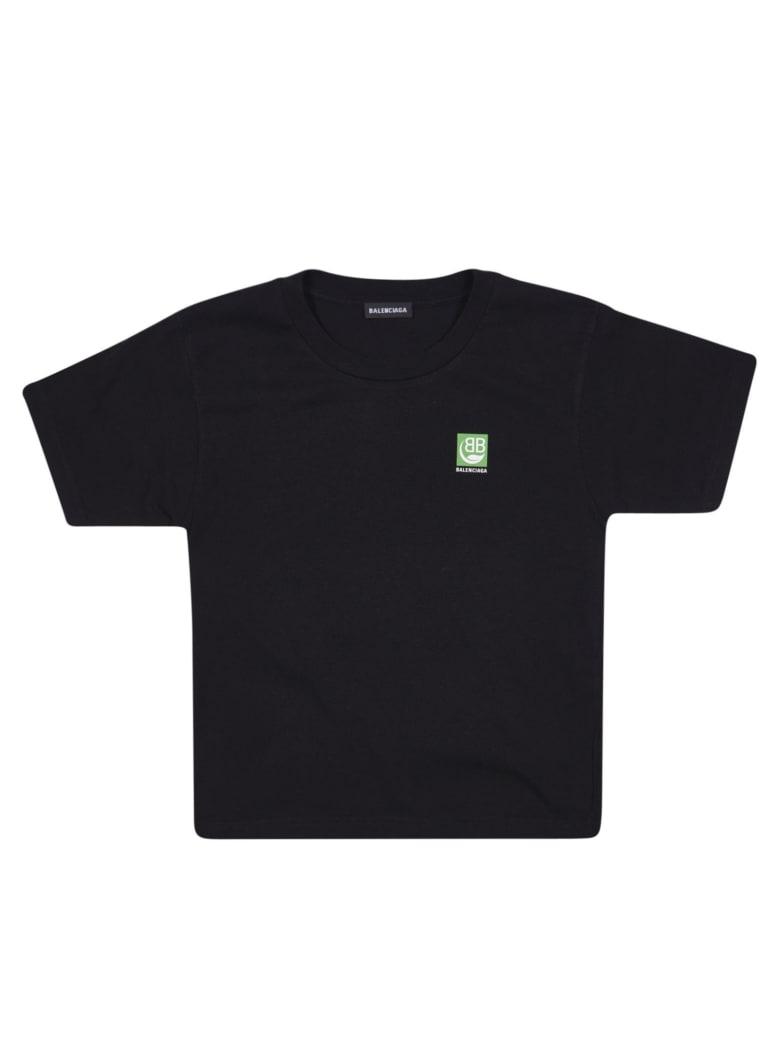 Balenciaga Back And Chest Logo Print T-shirt - Black