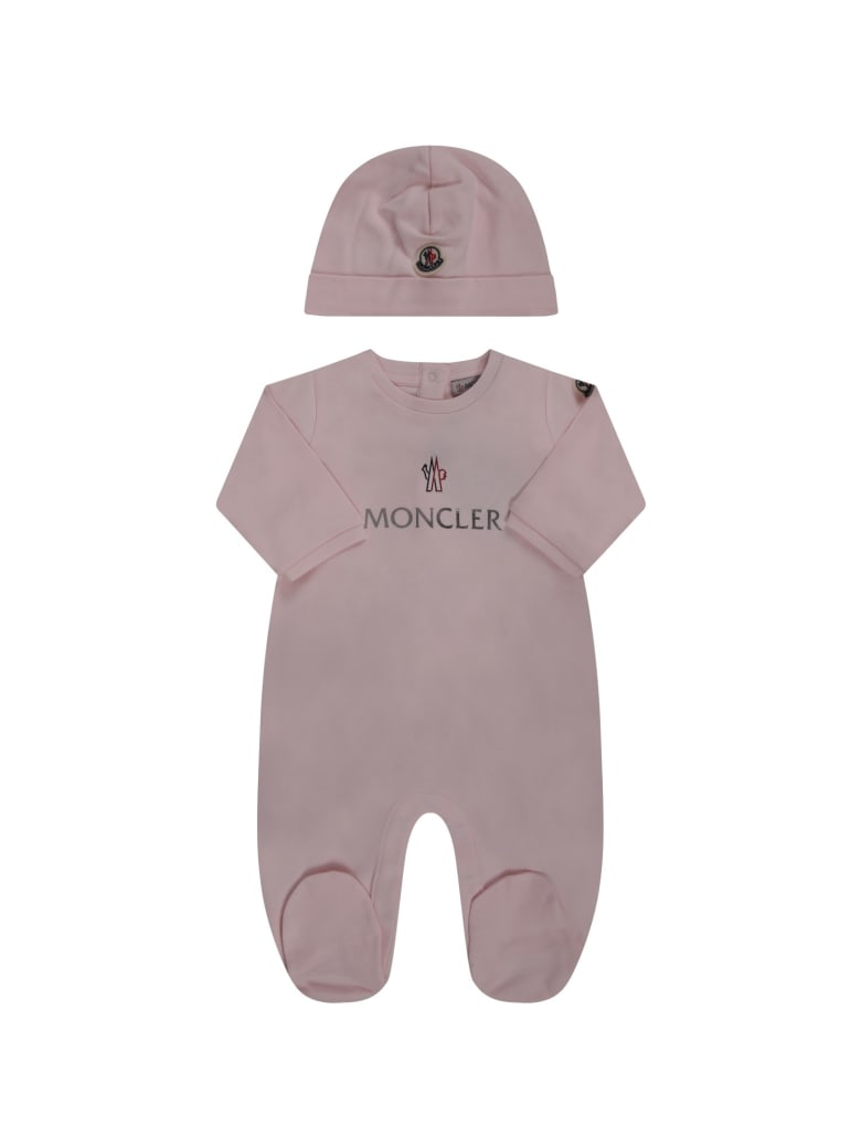 Moncler Pink Suit For Babygirl With Logo - Rosa