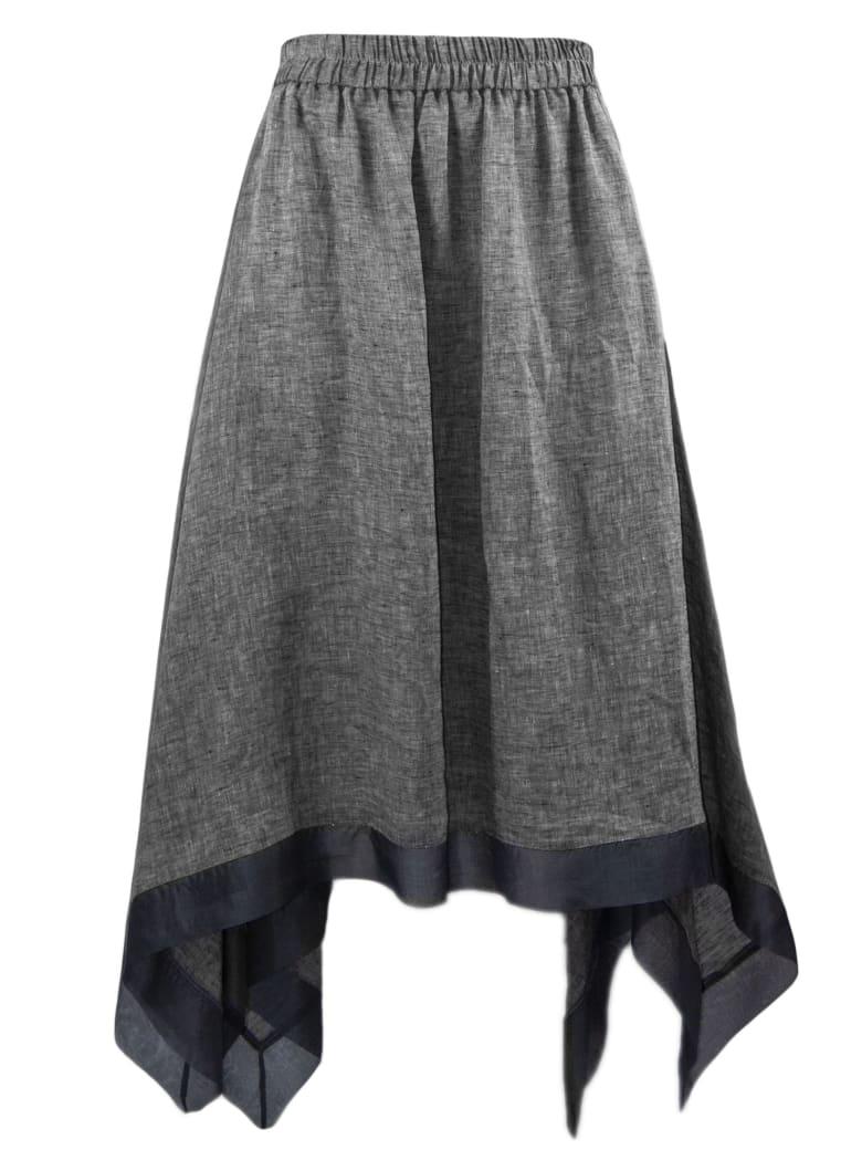 Fabiana Filippi Grey Linen Skirt - Grigio