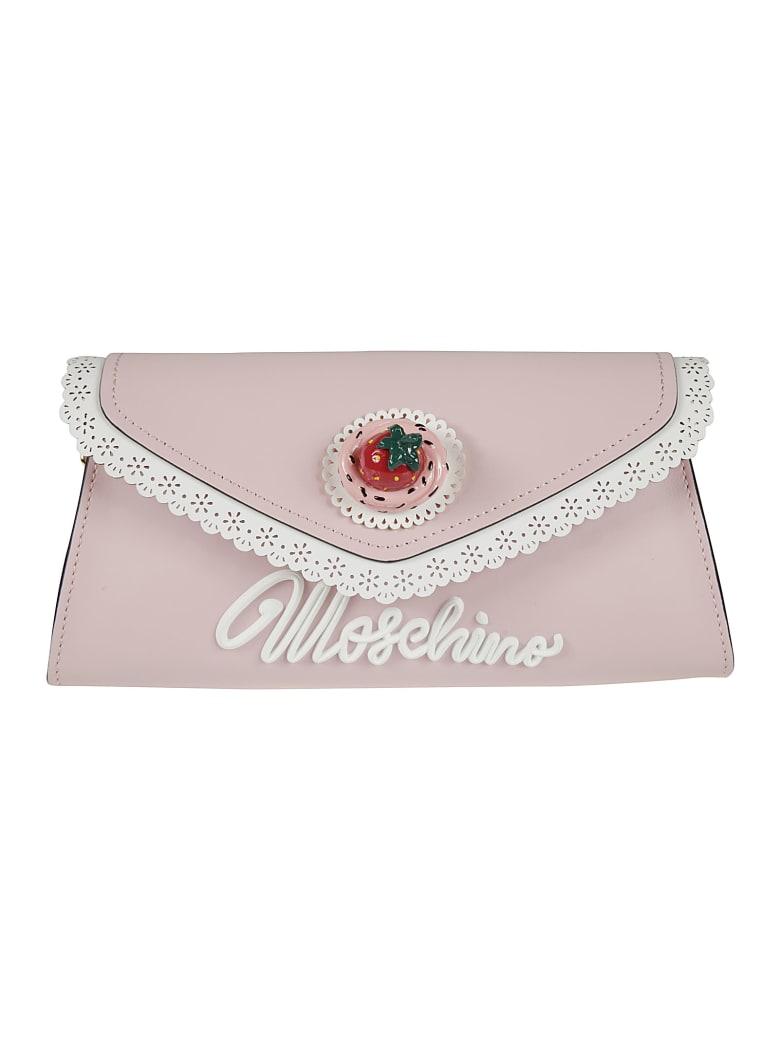 Moschino Logo Front Envelope Shoulder Bag - Pink
